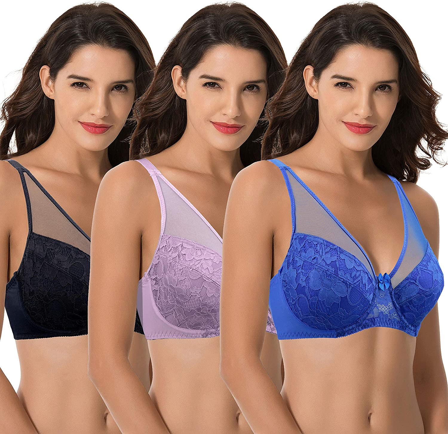 Curve Muse Womens Plus Size Minimizer Unlined Underwire Full Coverage Bra
