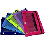 Pencil Pouch Zippered Dual Compartment Mesh Window 3-Ring Binder Canvas Assorted Color (5-Pack)