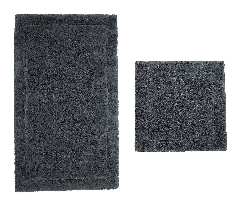 Casalanas - Santorin, Beidseitig verwendbar, Schwerer Badezimmerteppich, 100% Natur-Baumwolle, 2-teilig(60x60 + 120x70) cm, Smoke