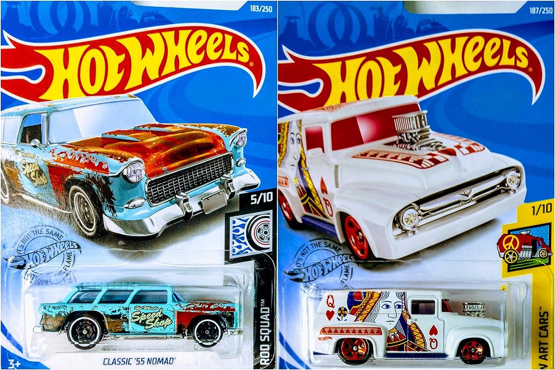 Hot Wheels 2019 56 Ford F-100 187//250 and Classic 55 Nomad 183//250 2 Car Bundle Set