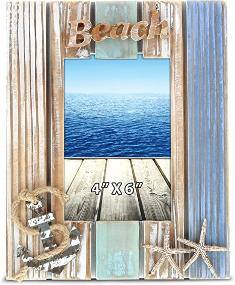 Beach 5x7 photo frame for Coastal home decor wedding present Decorative picture frame personalized gift for ocean lover housewarming