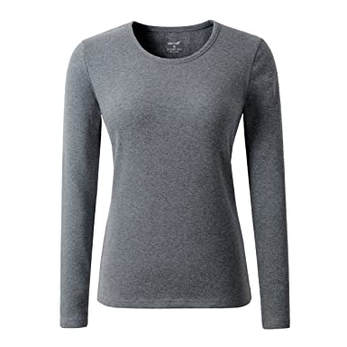 a81772d4fb2 HieasyFit Women's Cotton Stretch Crew Neck T-Shirt Tee Top with Fleece  Lined(Dark