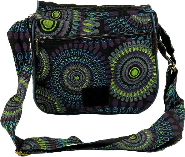 Noir Lecoton Sacs /à Bandouli/ère sac Hippie 22x23x5 cm Guru-Shop Sac /à Bandouli/ère sac Goa Mixte Adulte