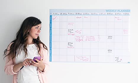Weekly Calendar Dry Erase Planner - Hourly Planning Time Slots - Whiteboard  Calendar Poster for Wall - Office Wall Calendars - Back to School Supplies
