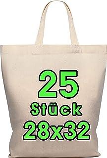 Bolsa de algodón Polhim, 28 x 32 cm, 25 unidades, bolsa de yute, asa corta, 145 g/m², ideal para pintar: Amazon.es: Hogar