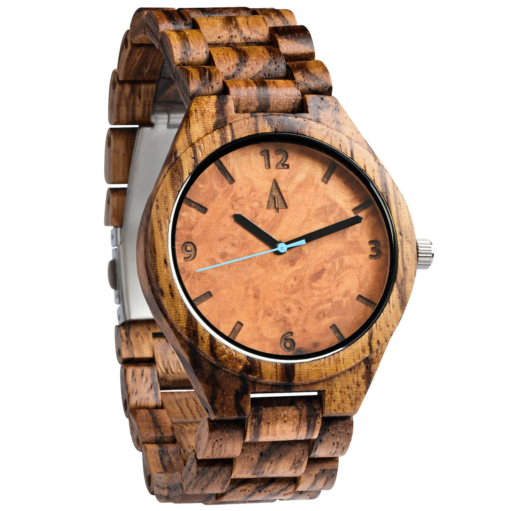 Treehut Men's Zebrawood Maple Burl Dial Wooden Watch with All Zebrawood Wood ...