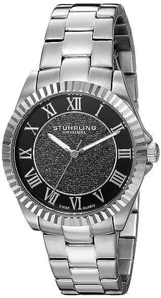Stuhrling Original Womens 743.01 Audrey Shimmer Swiss Quartz Black Dial Watch