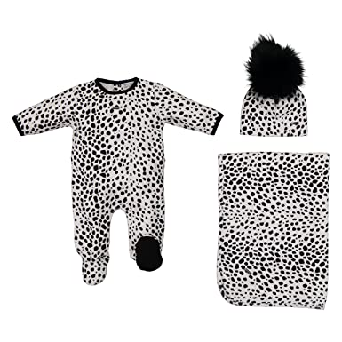 a0f3a2b56b Velour Take Me Home Soft Footie Blanket and Hat Unisex Newborn Baby Gift Set  (Black