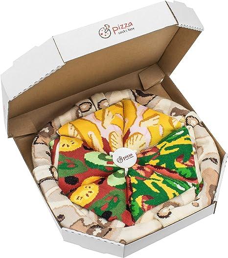 PIZZA SOCKS BOX 4 pairs MIX Hawaii Italian Pepperoni Cotton Socks L Made In EU