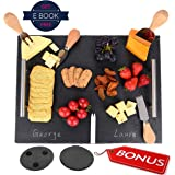 "Large Slate Cheese Board, Stainless Steel Handles [7 pc set], Super Value Bundle, Premium Quality, Easy Trasportation, 16""x12"", 4 Cutleries & 2 Chalks - Free Bonus Coasters - Ebook"