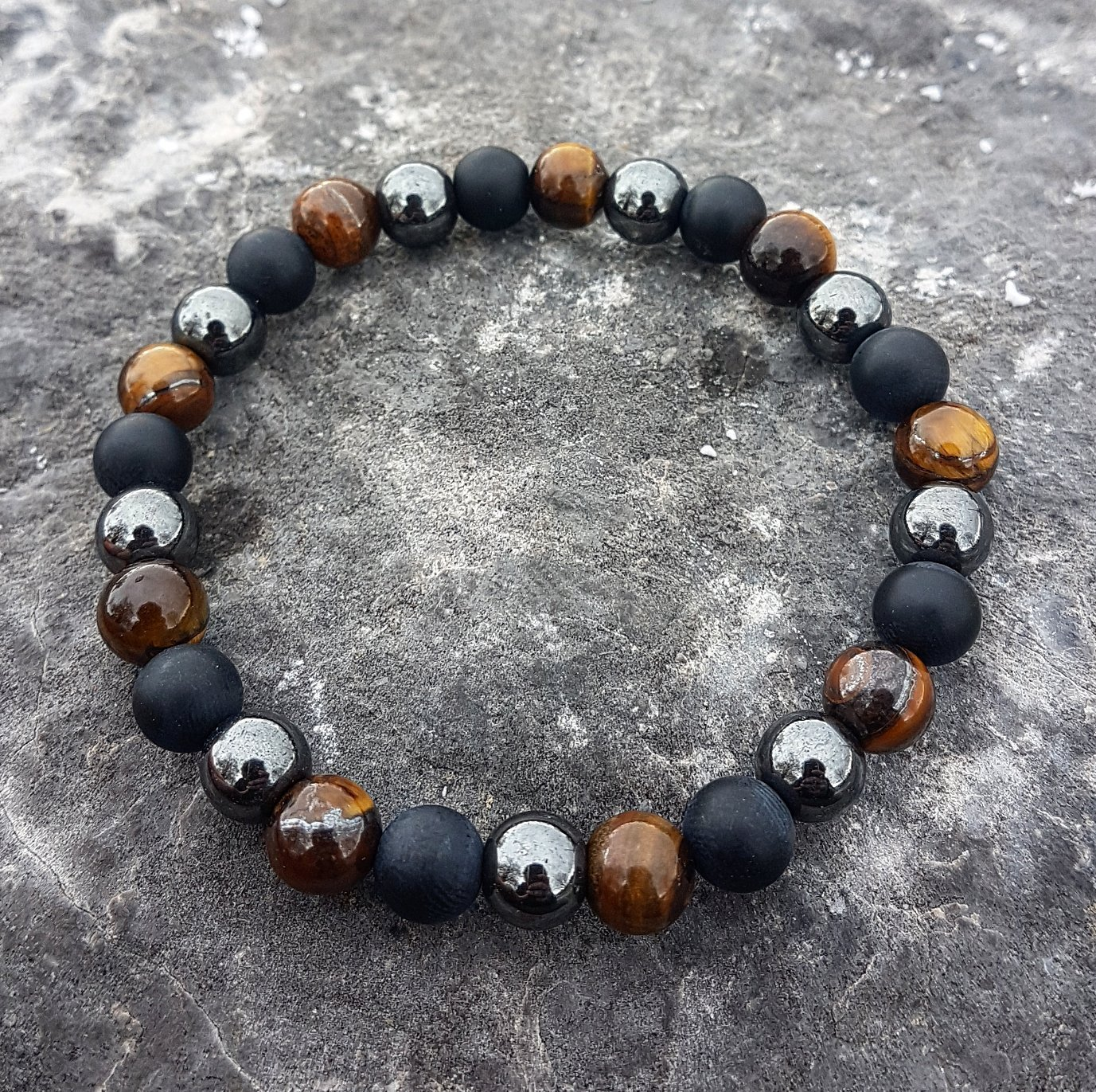 I am protected - Handmade natural semi-precious healing gemstones crystals stretch bracelet made of black onyx, hematite and tiger's eye 8mm beads men women unisex