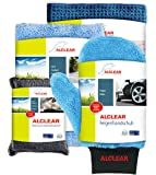 ALCLEAR 8201000 Profi Autopflegeset 4teilig bestehend aus Trockenwunder, 2-Seiten Allrounder, Felgenhandschuh sowie Microcar Autoschwamm