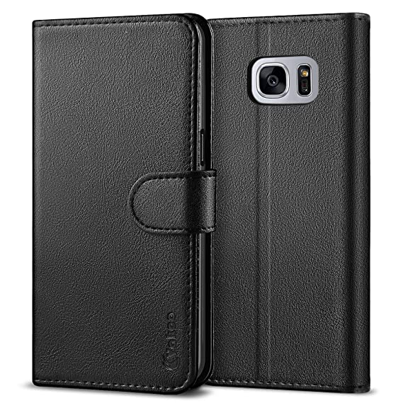 outlet store 17a8d 83770 VAKOO Galaxy S7 Wallet Flip Cases, Samsung S7 Folio Case, Premium PU  Leather Cases Phone Cover for Samsung Galaxy S7 (Black)