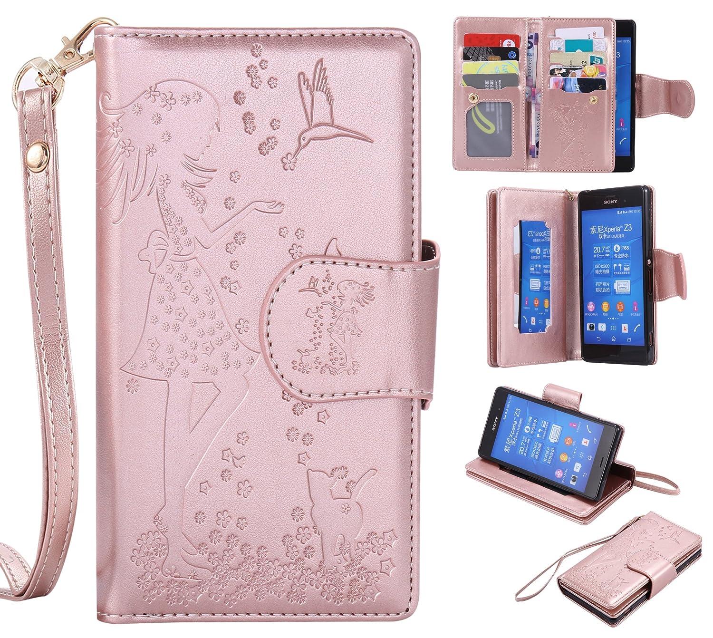 Docrax Sony Xperia Z3 Lederhü lle, Handy Hü lle Leder Klappbar Brieftasche Schutzhü lle mit Kartenfach Magnetisch Stoß fest Handyhü lle Flip Case fü r Sony Xperia Z3 - DOKTU42709 Grau
