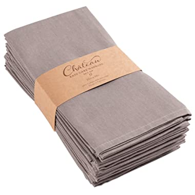 KAF Home Chateau Easy-Care Cloth Dinner Napkins - Set of 12 Oversized (20 x 20 inches) - Gray