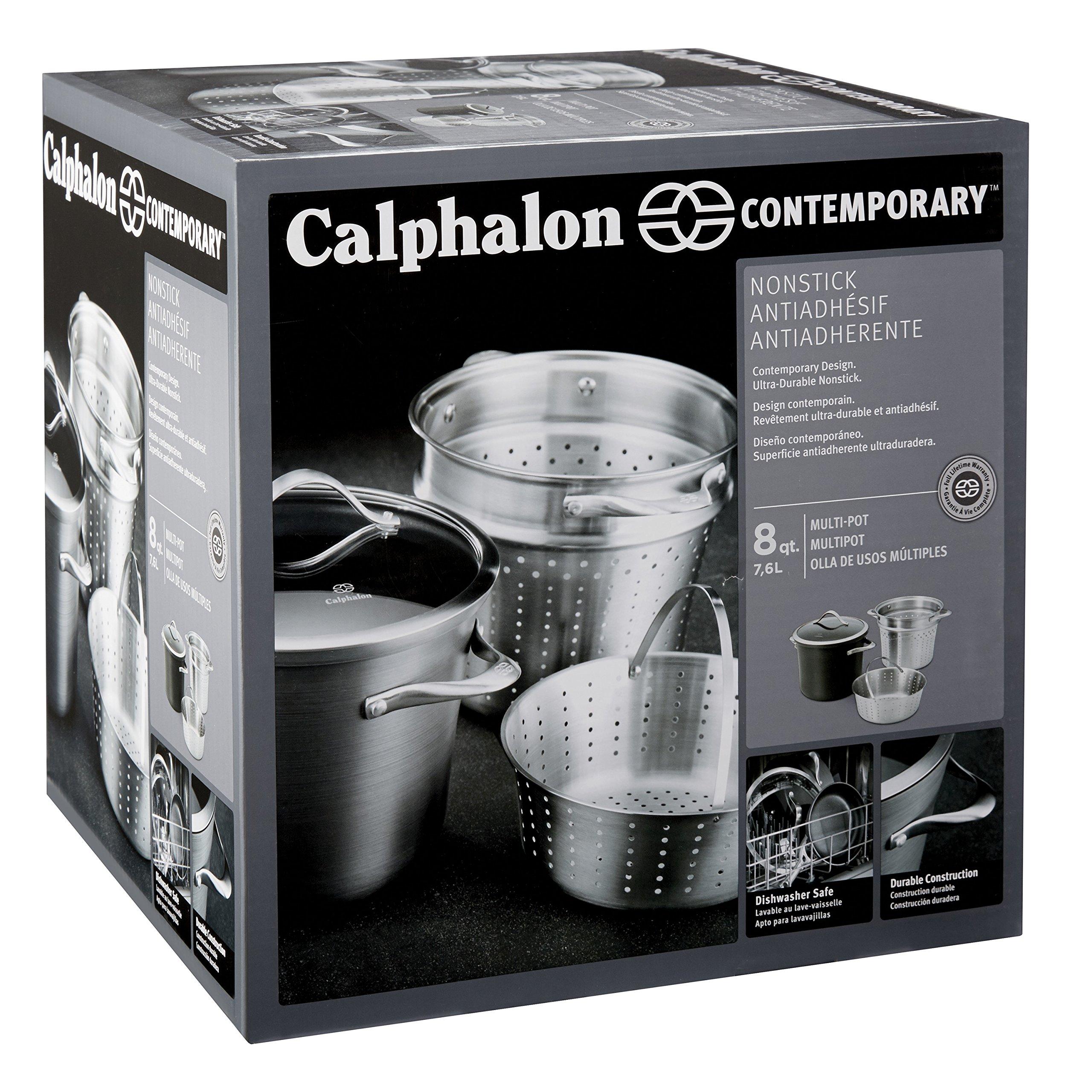 Calphalon Contemporary Hard-Anodized Aluminum Nonstick Cookware, Pasta Pot with Steamer Insert, 8-quart, Black by Calphalon (Image #5)
