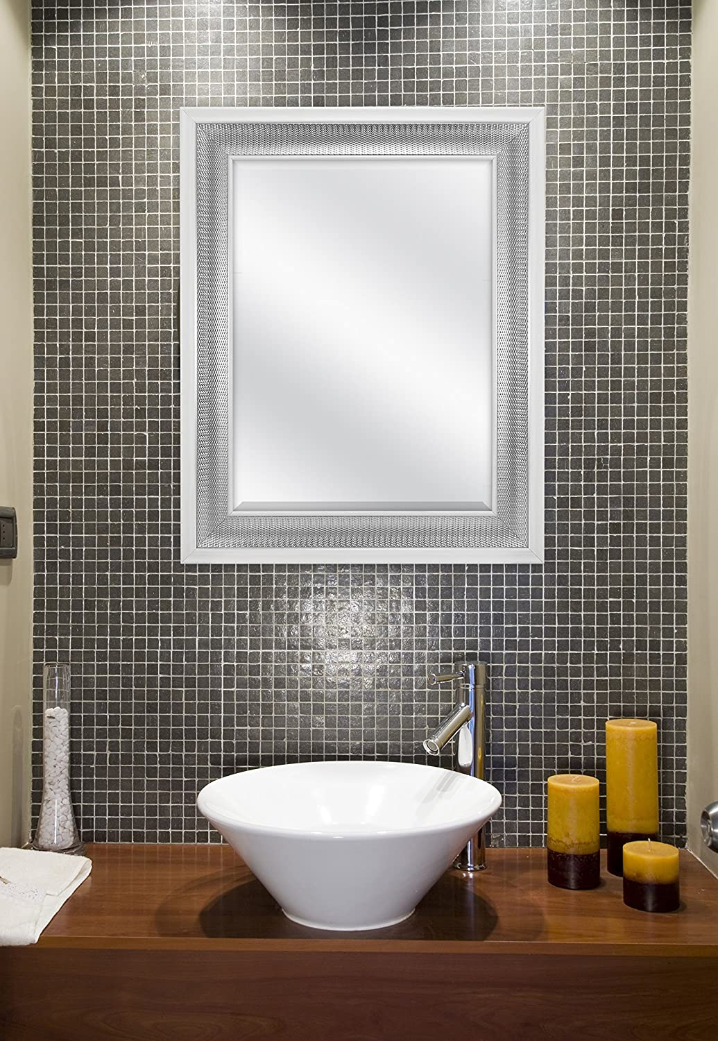 Silver 83041 24.5x30.5 Inch Overall Size MCS 18x24 Inch Embossed Droplet Wall Mirror MCS Industries