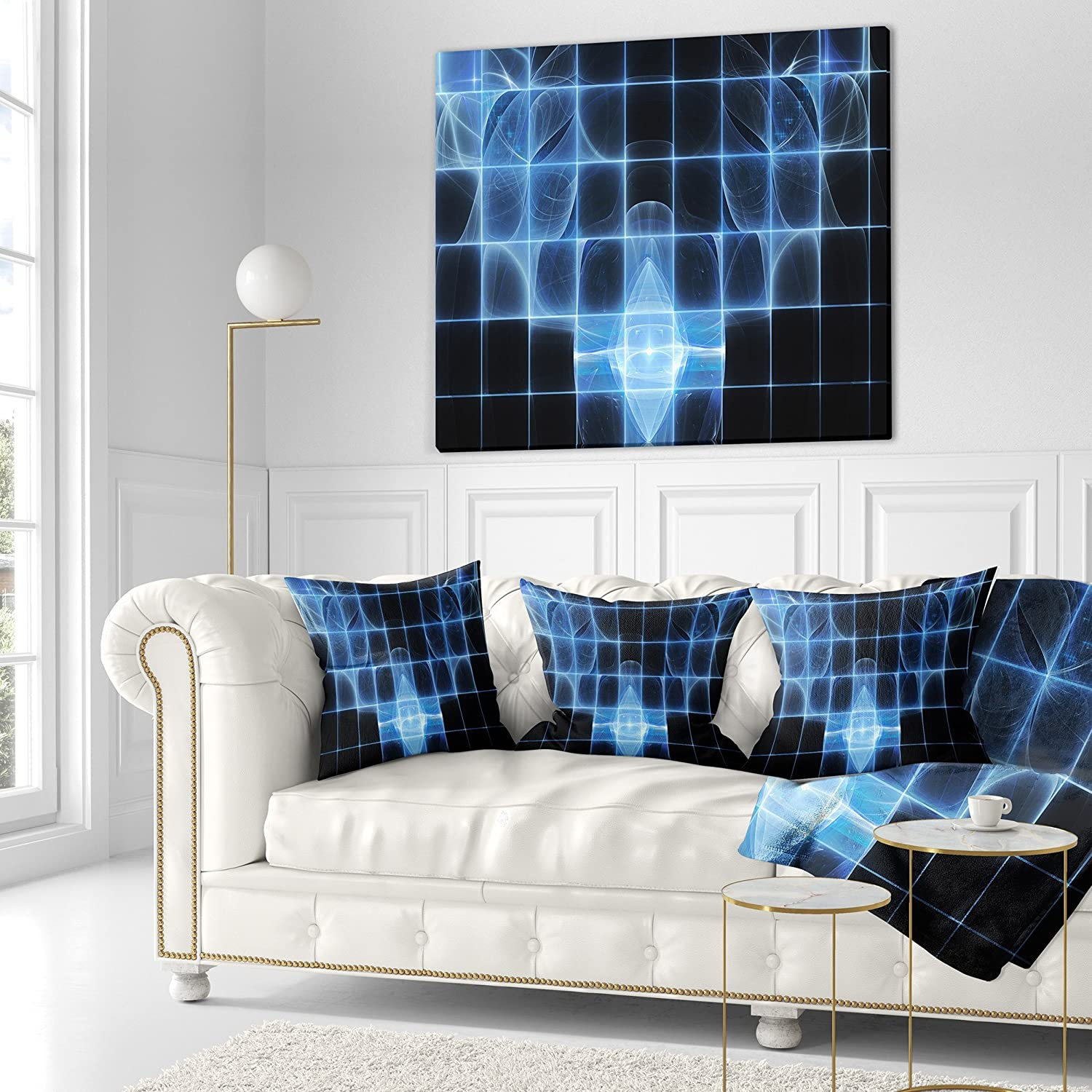 x 18 in in Designart CU16061-18-18 Bright Blue Bat on Radar Screen Abstract Cushion Cover for Living Room Sofa Throw Pillow 18 in Insert Printed on Both Side