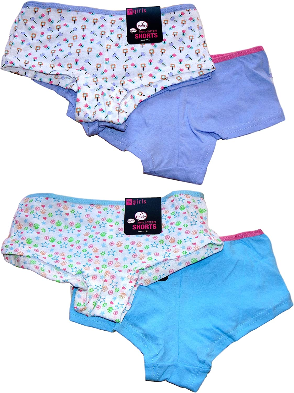 *New in* 4 Pairs Girls 100/% Cotton Boxers Boyshorts Knickers Ages 5-12 Years