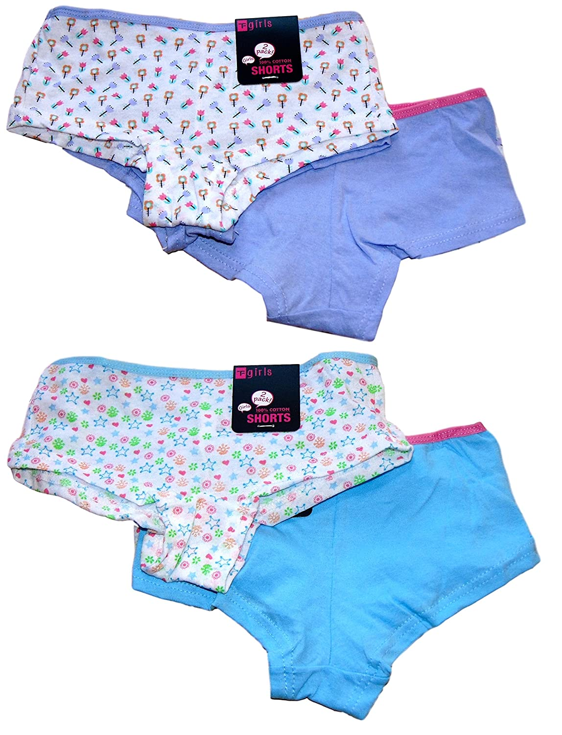 *New in* 4 Pairs Girls 100% Cotton Boxers Boyshorts Knickers Ages 5-12 Years BR222