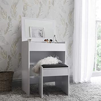 hot sale online f3585 8b665 Laura James Compact Dressing Table Vanity Desk with Flip Up Mirror and  Stool – Space Saving Design (White)