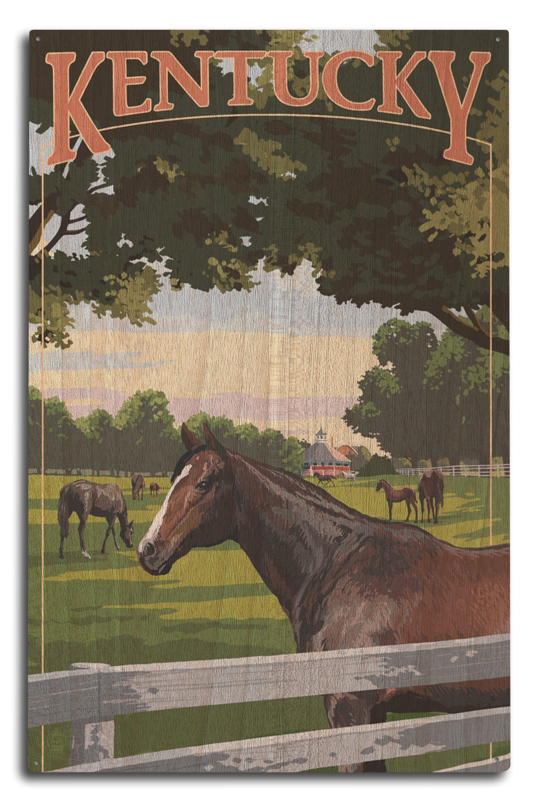 Lantern Press Kentucky - Thoroughbred Horses Farm Scene (10x15 Wood Wall Sign, Wall Decor Ready to Hang)