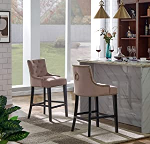 Iconic Home Lyric Counter Stool Chair Button Tufted Velvet Upholstered Nailhead Trim Swoop Arm Seat Pull Ring Espresso Finished Tapered Wood Legs Modern Transitional, BLUSH,FCS9442-AN