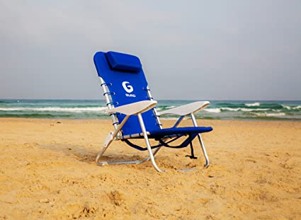 GURO Aluminum Folding Backpack Beach Chair Ultra-light with Storage (Blue) : aluminum folding beach chairs - Cheerinfomania.Com