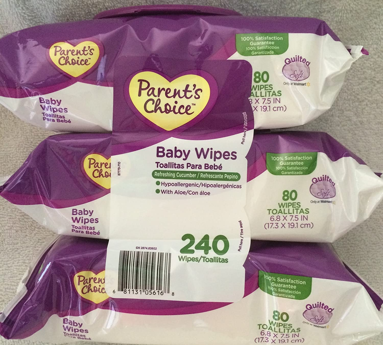 Amazon.com : Parents Choice Baby Wipes Refreshing Cucumber 240 Ct w/ Aloe : Baby