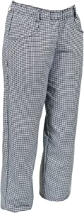 Mercer Culinary M60040HTL Millennia Women's Chef Pants in Hounds Tooth, Large, Black/White