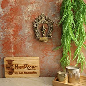 Two Moustaches Ethnic Indian Carving Brass Dancing Ganesha Diya with Prabhavali Frame