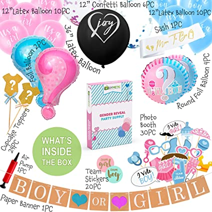 """He Or She 36/"""" Gender Confetti Balloon Tassel Baby Shower Party Xmas Decor NEW"""