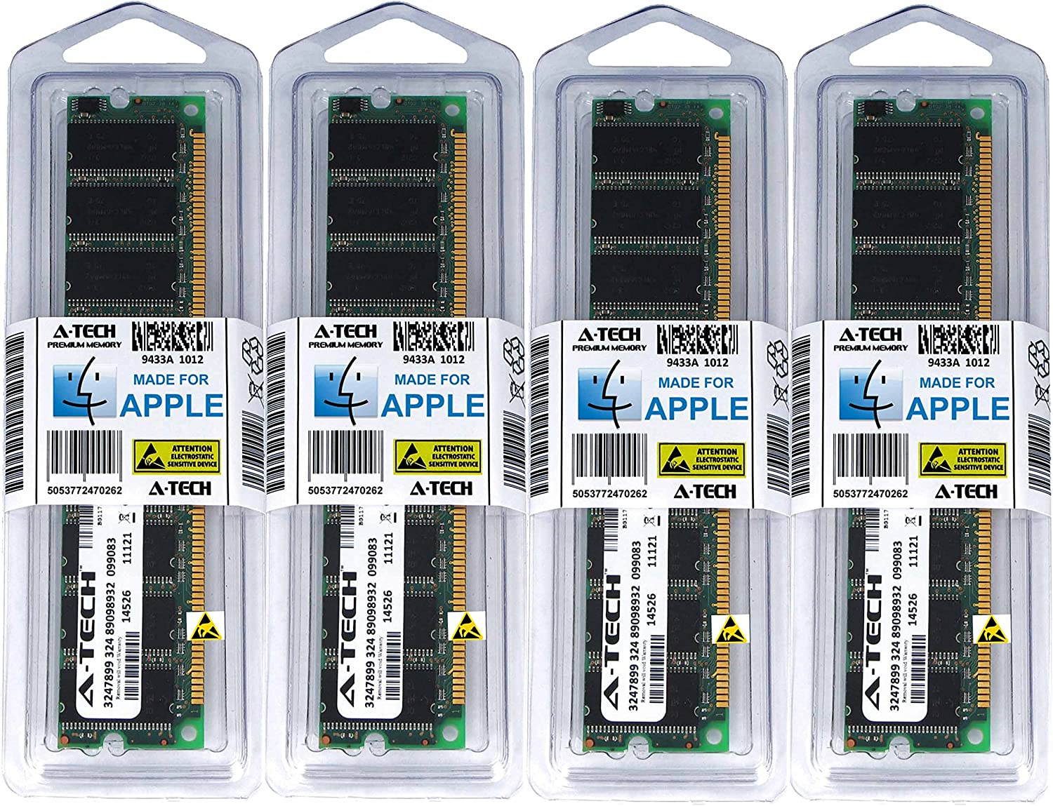 A-Tech for Apple 4GB Kit 4X 1GB PC3200 400MHz Power Mac G5 Mid 2004 Late 2004 Early 2005 M9454LL/A A1047 M9555LL/A A1093 M9747LL/A Memory RAM