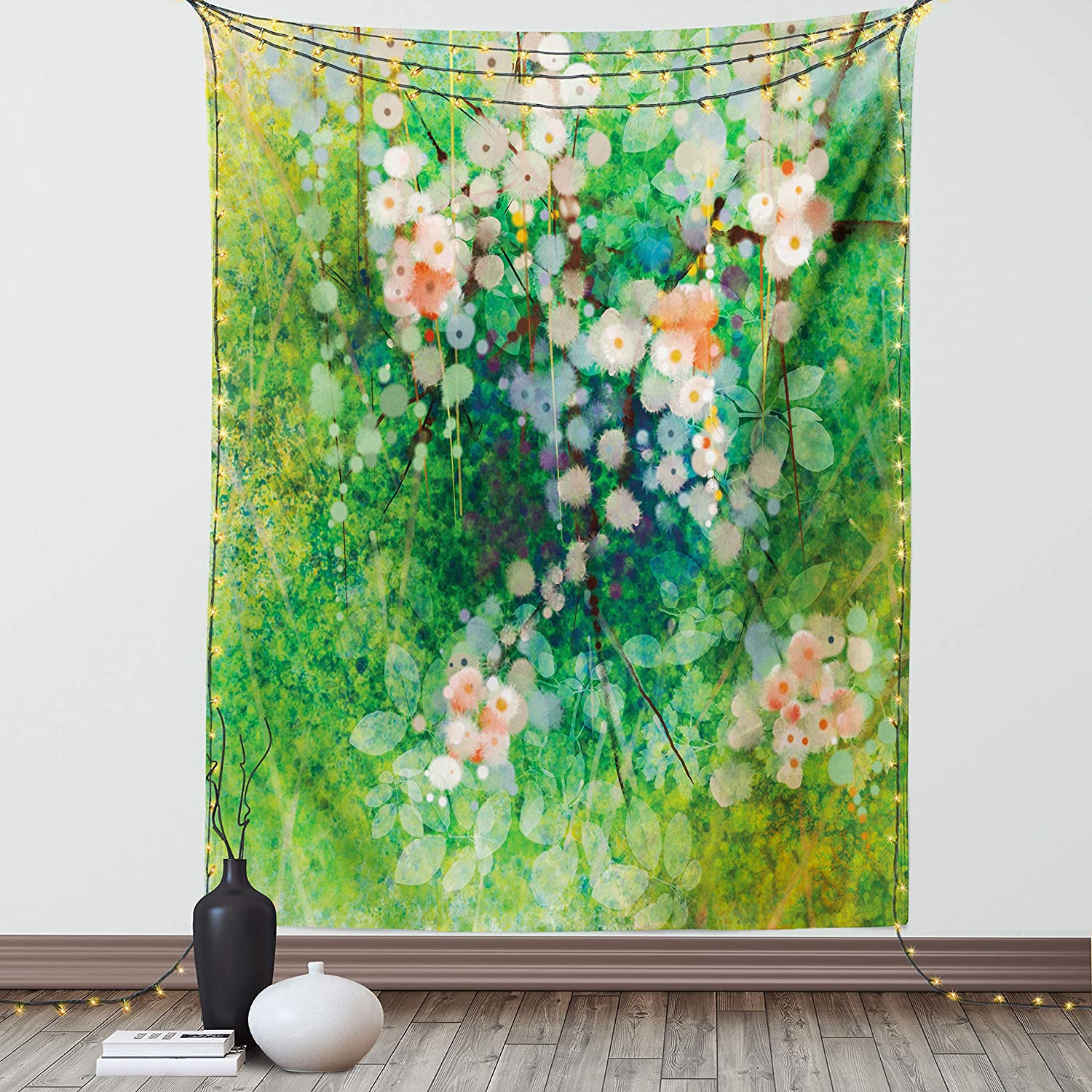 Lunarable Flower Tapestry, Apple Blossoms on Grass with Splashes Grace Sign Elements from Nature Artwork Print, Fabric Wall Hanging Decor for Bedroom Living Room Dorm, 30