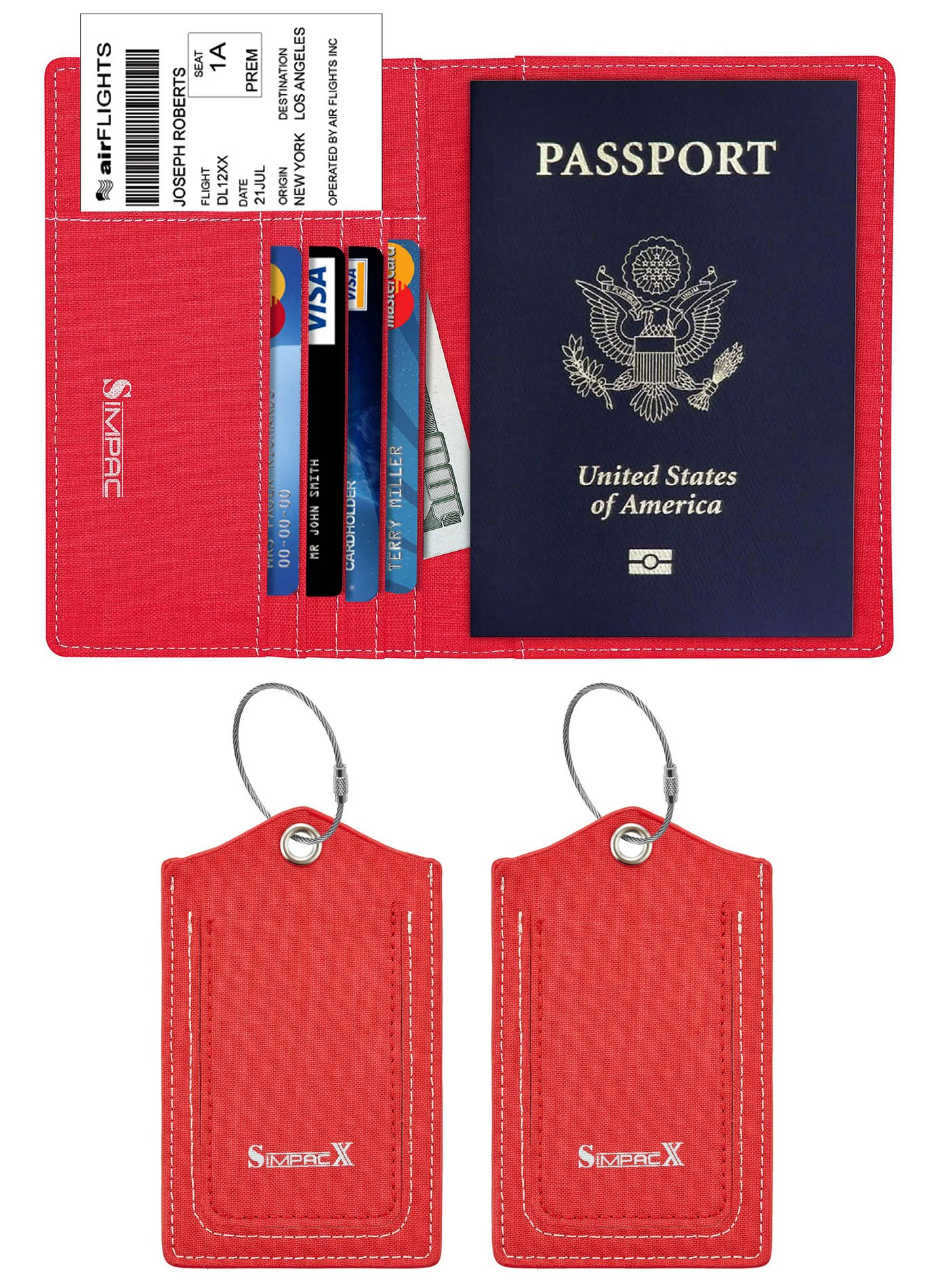 SimpacX Fabric Passport Holder Wallet Cover Case RFID Blocking Travel Wallet (holder plus tag red)
