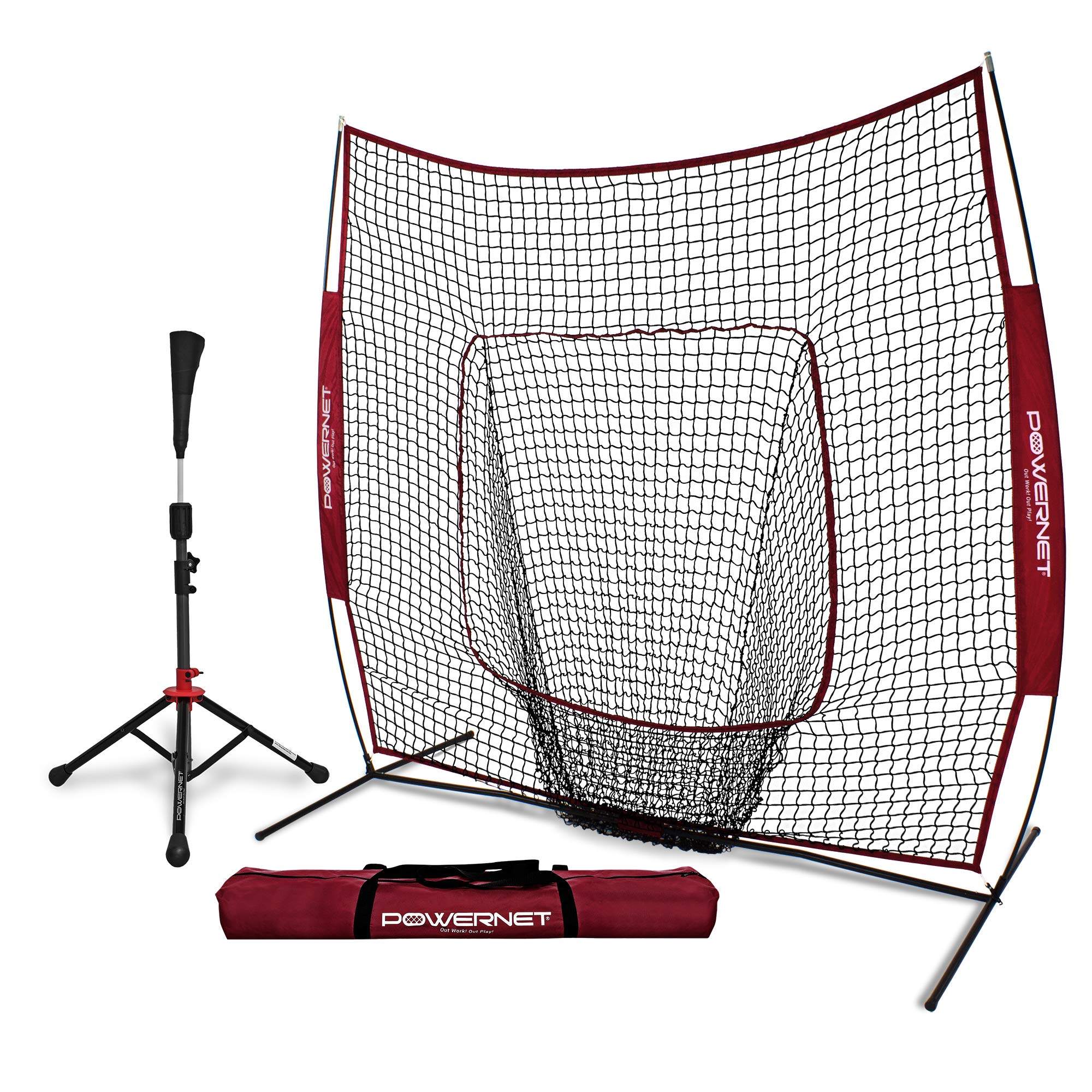 PowerNet Baseball Softball Practice Net 7x7 with Deluxe Tee (Maroon) | Practice Hitting, Pitching, Batting, Fielding | Portable, Backstop, Training Aid, Lg Mouth, Bow frame | Training Equipment Bundle by PowerNet