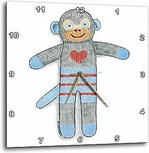 3dRose LLC Sock Monkey Toy Cute Heart Illustration Blue Child 10 by 10-Inch Wall Clock