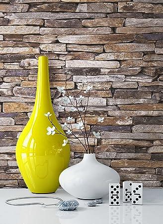 Steintapete Vlies Beige Grau Natur | Schöne Edle Tapete Im Steinmauer Design  | Moderne 3D Optik