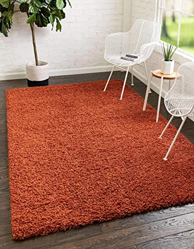 Unique Loom Solo Solid Shag Collection Modern Plush Terracotta Area Rug 8' 0 x 10' 0
