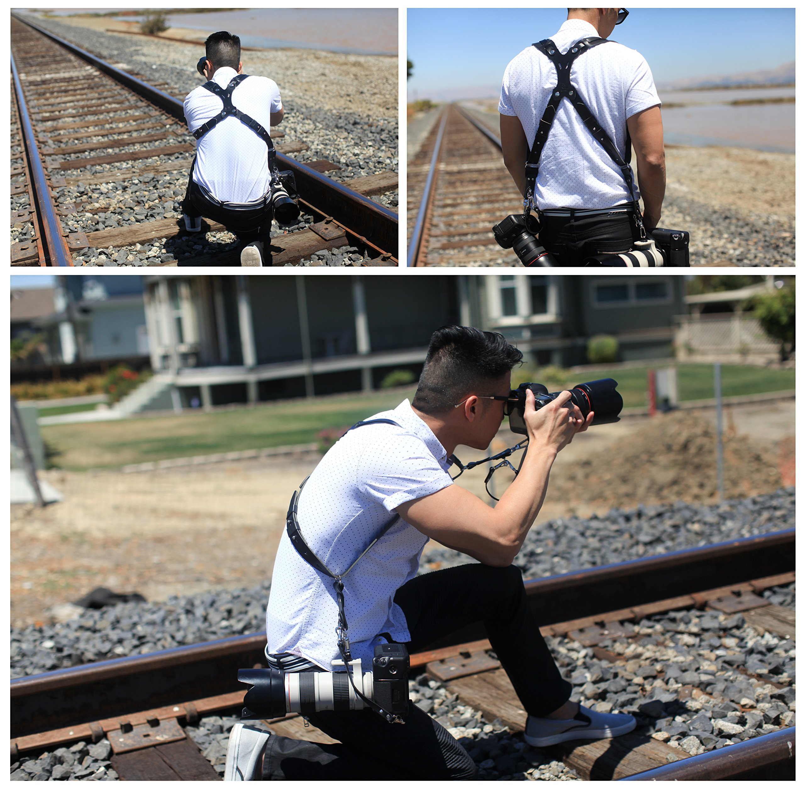 Clydesdale Pro-Dual Handmade Leather Camera Harness, Sling & Strap RL Handcrafts. DLSR, Mirrorless, Point & Shoot Made in The USA (Black, X-Large) by Republic Leather Company (Image #2)