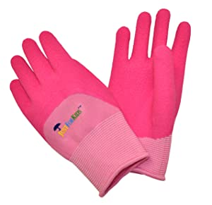 G & F 2040-2P JustForKids Premium MicroFoam Texture Coated Kids Garden Gloves, Kids Work Gloves, Pink, 1 Pair