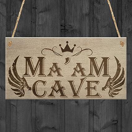 Ma am cueva She cobertizo para jardín hermana Mujer cueva para colgar placa amistad signo