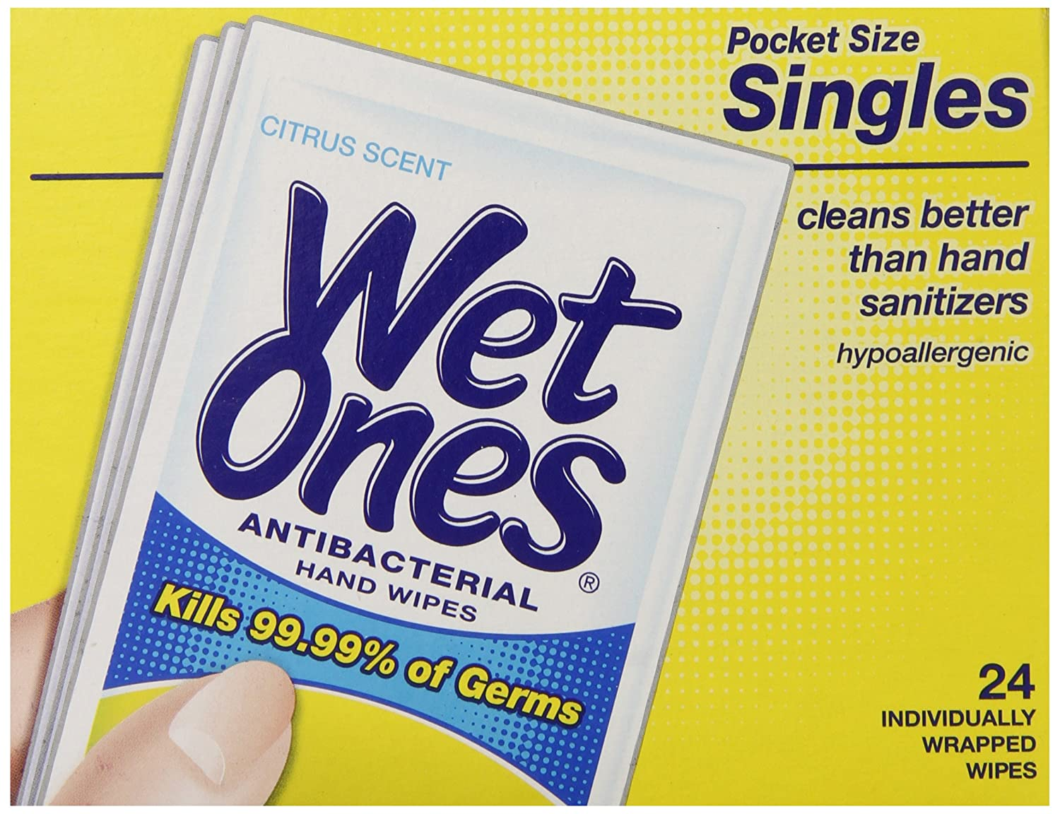 Wet Ones Citrus Antibacterial Hand and Face Wipes Singles, 24-Count (Pack of 5) Playtex Products Inc Wet-4771