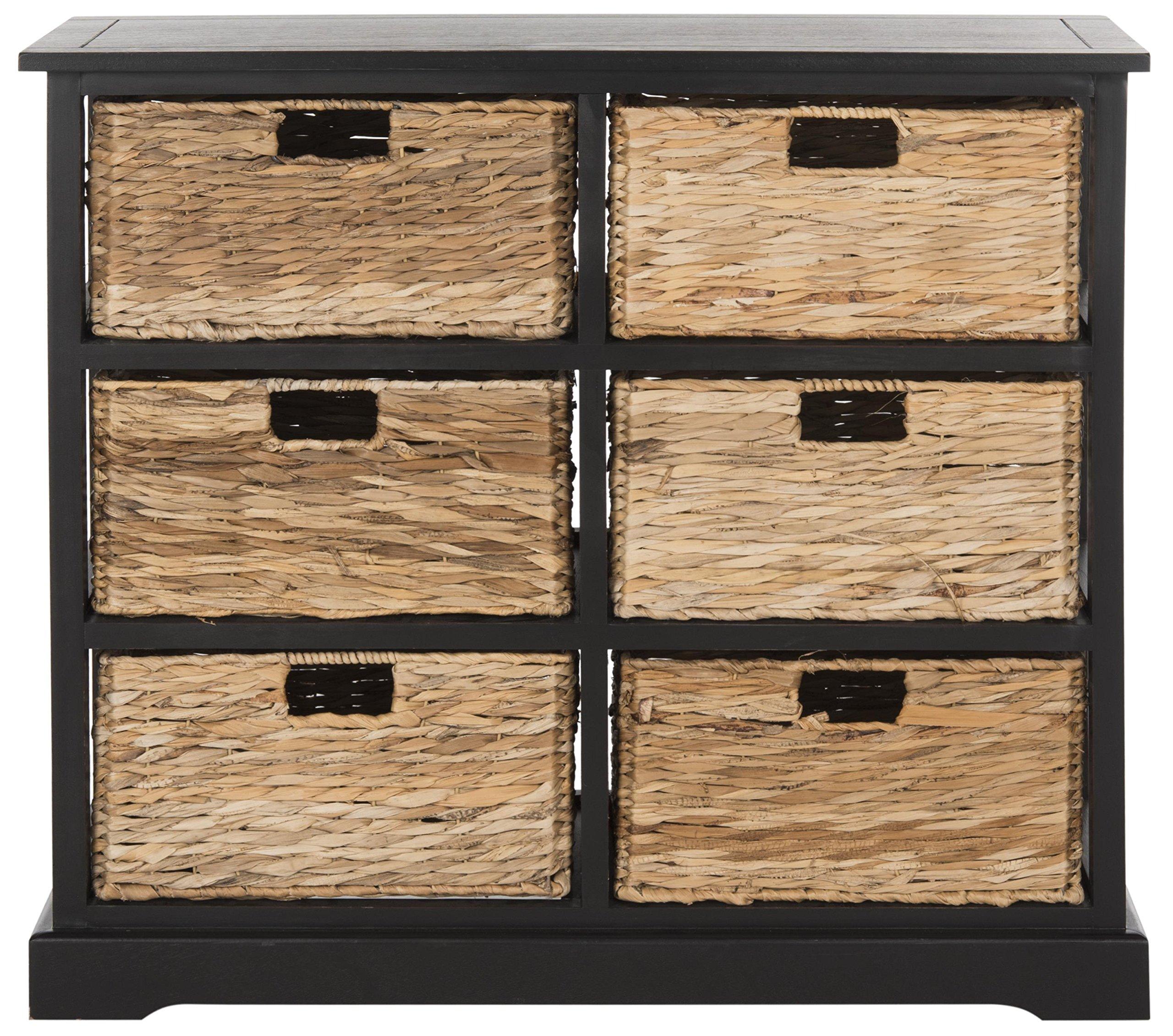 Safavieh American Homes Collection Keenan Distressed Black 6 Wicker Basket Storage Chest