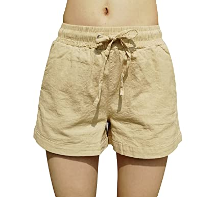 058c65b6f1d Elastic Waist Shorts for Women Casual Cotton Linen Breathable Summer Beach  with Drawstring at Amazon Women s Clothing store