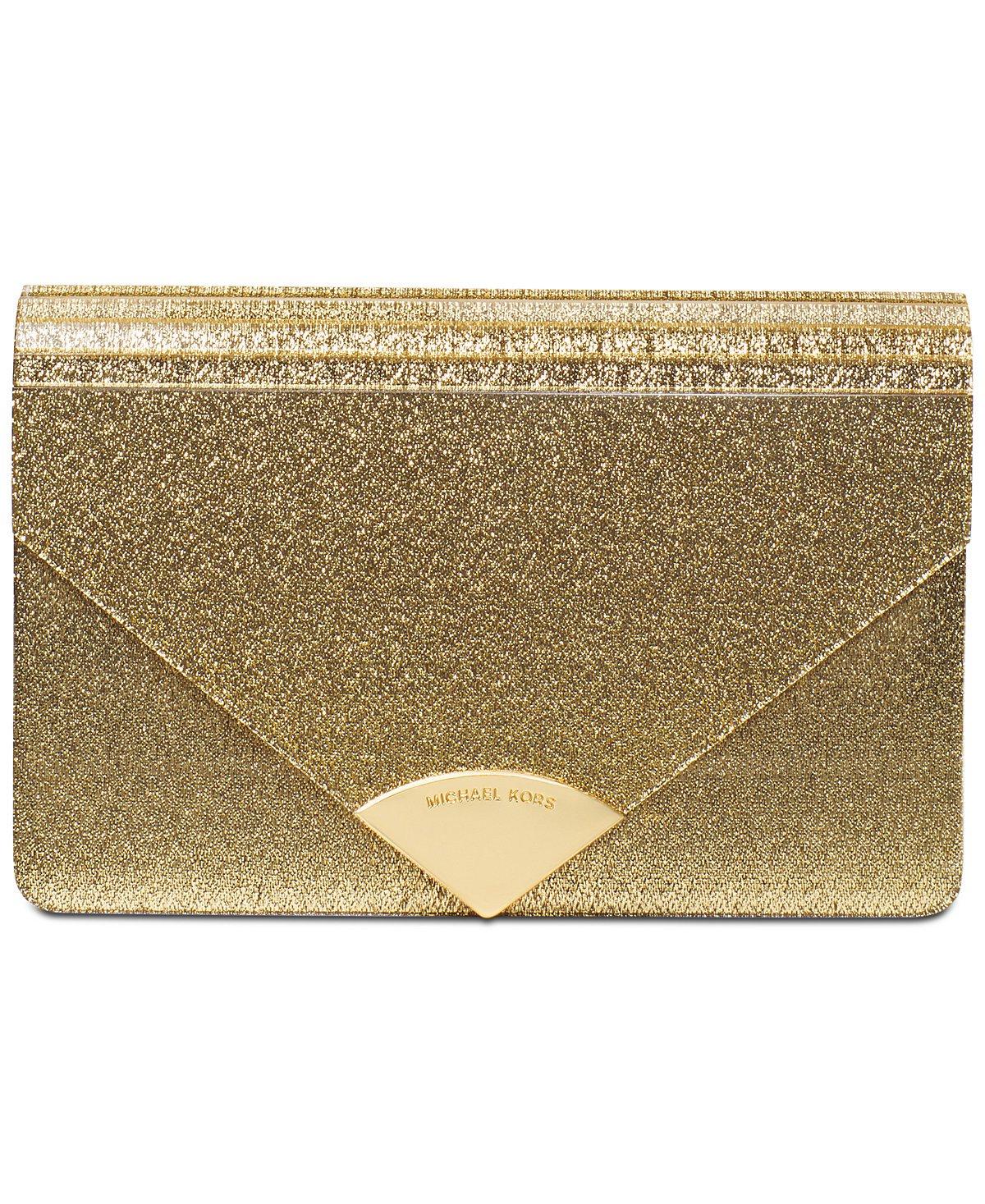 MICHAEL Michael Kors Women's Barbara Metallic Envelope Clutch, Gold, One Size
