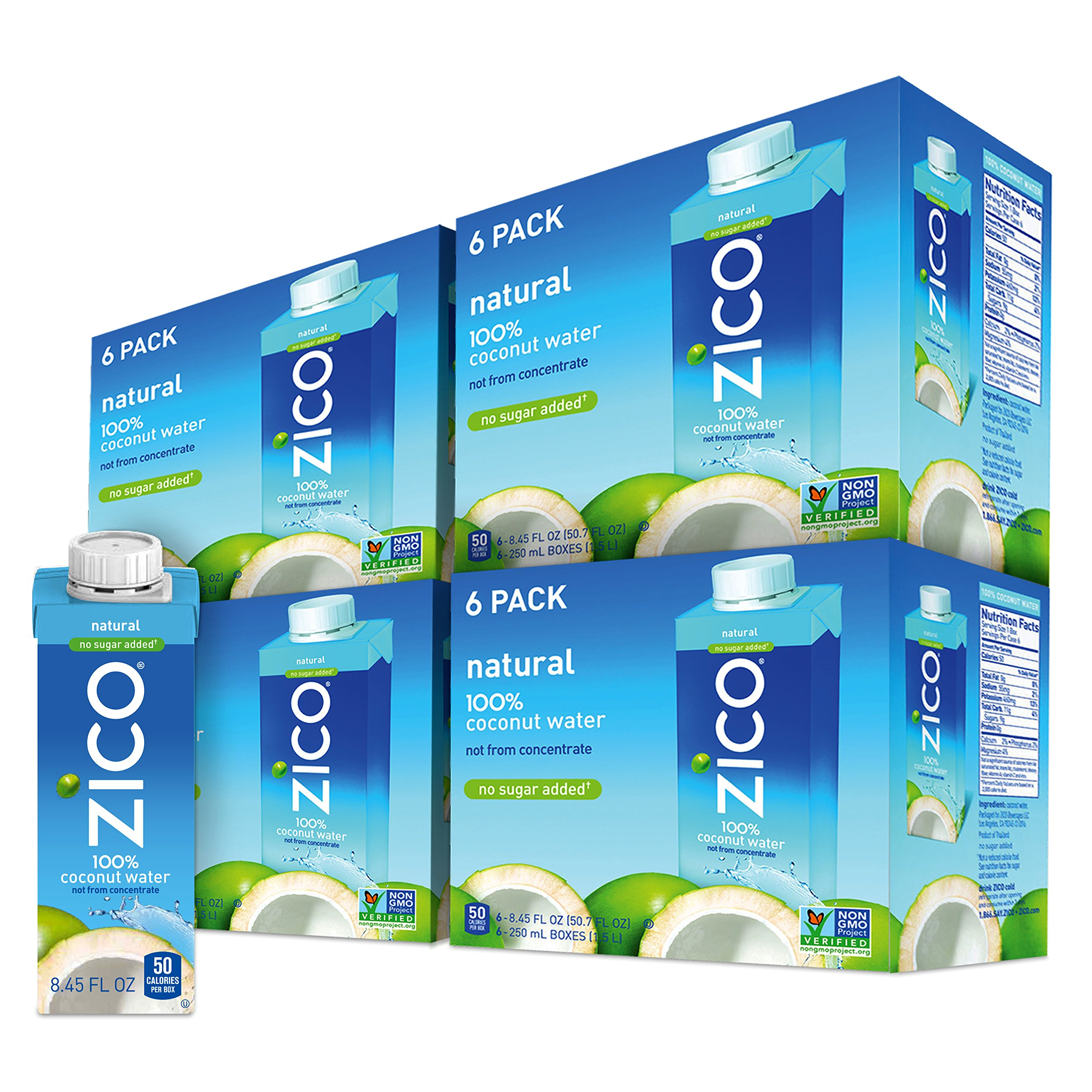 ZICO Premium Natural Coconut Water Drinks, No Sugar Added Gluten Free, 8.45 Fluid Ounce (Pack of 24) by Zico Beverages