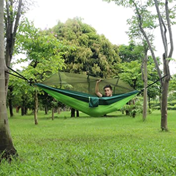 C&ing Hammock with Mosquito Net Outdoor Double Person Hanging Bed Tent Portable Parachute Fabric Sleeping Hammock & Amazon.com: Camping Hammock with Mosquito Net Outdoor Double ...