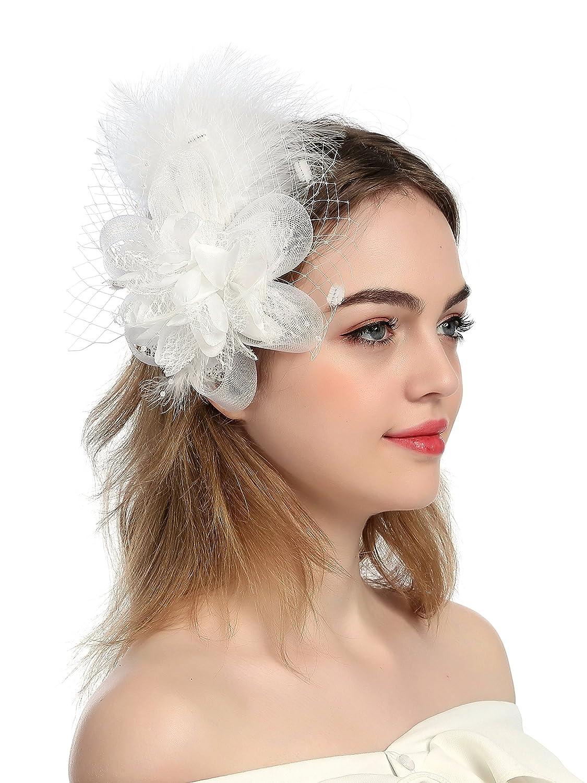 Zivyes Fascinators Headbands for Women Kentucky Derby Tea Party Hat Wedding Hair Clip Mesh Feather