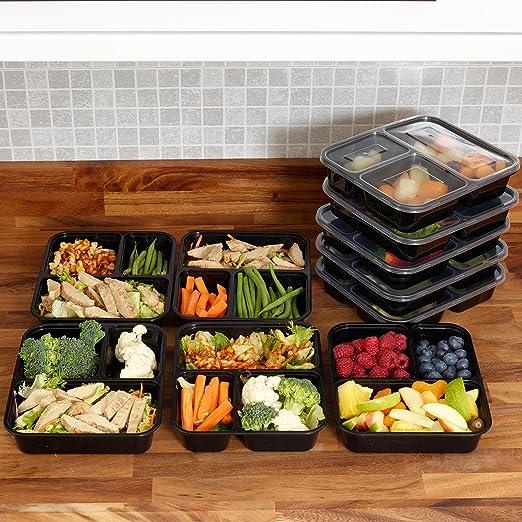 10 Pack 1, 2 o 3 compartimento comida Prep recipientes para ...